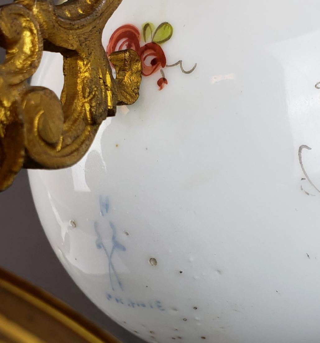 French Sevres Porcelain & Bronze Egg Shaped Vase - 7