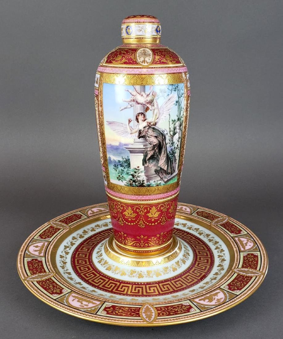 Magnificent Royal Vienna Handpainted Vase & Charger