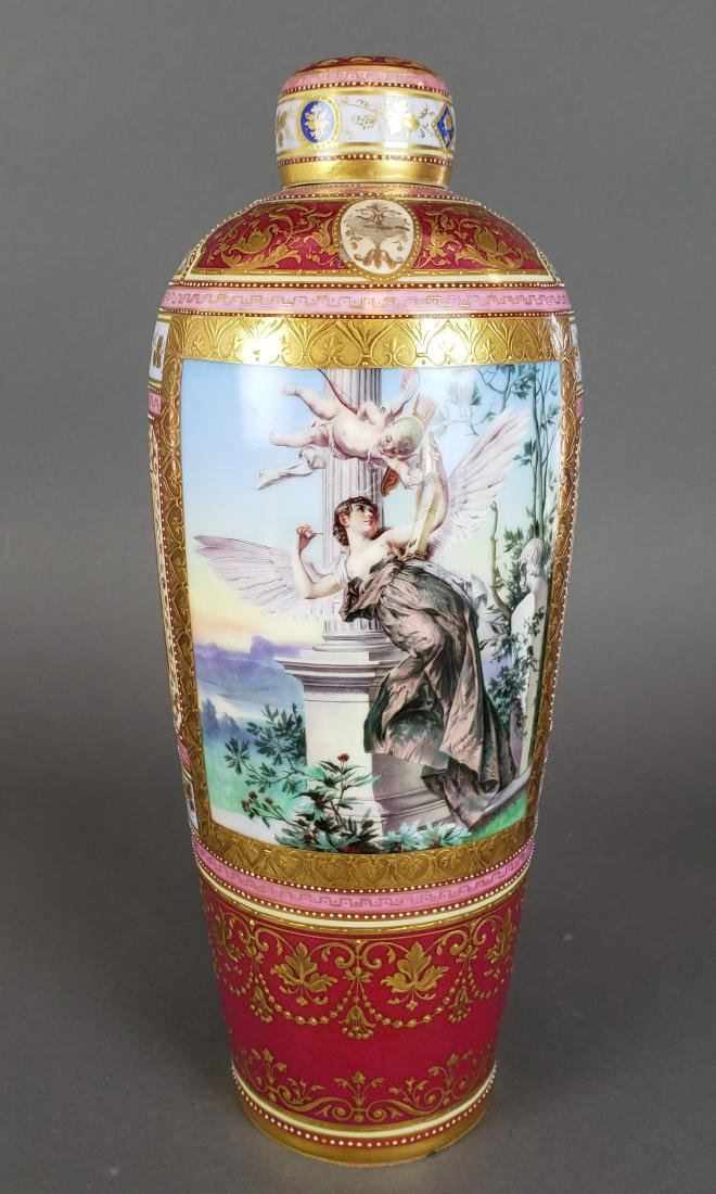 Magnificent Royal Vienna Handpainted Vase & Charger - 2