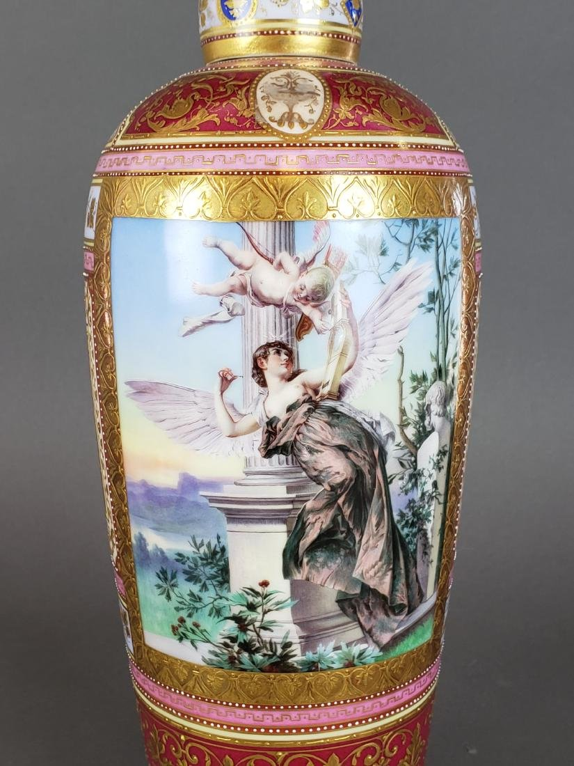 Magnificent Royal Vienna Handpainted Vase & Charger - 3