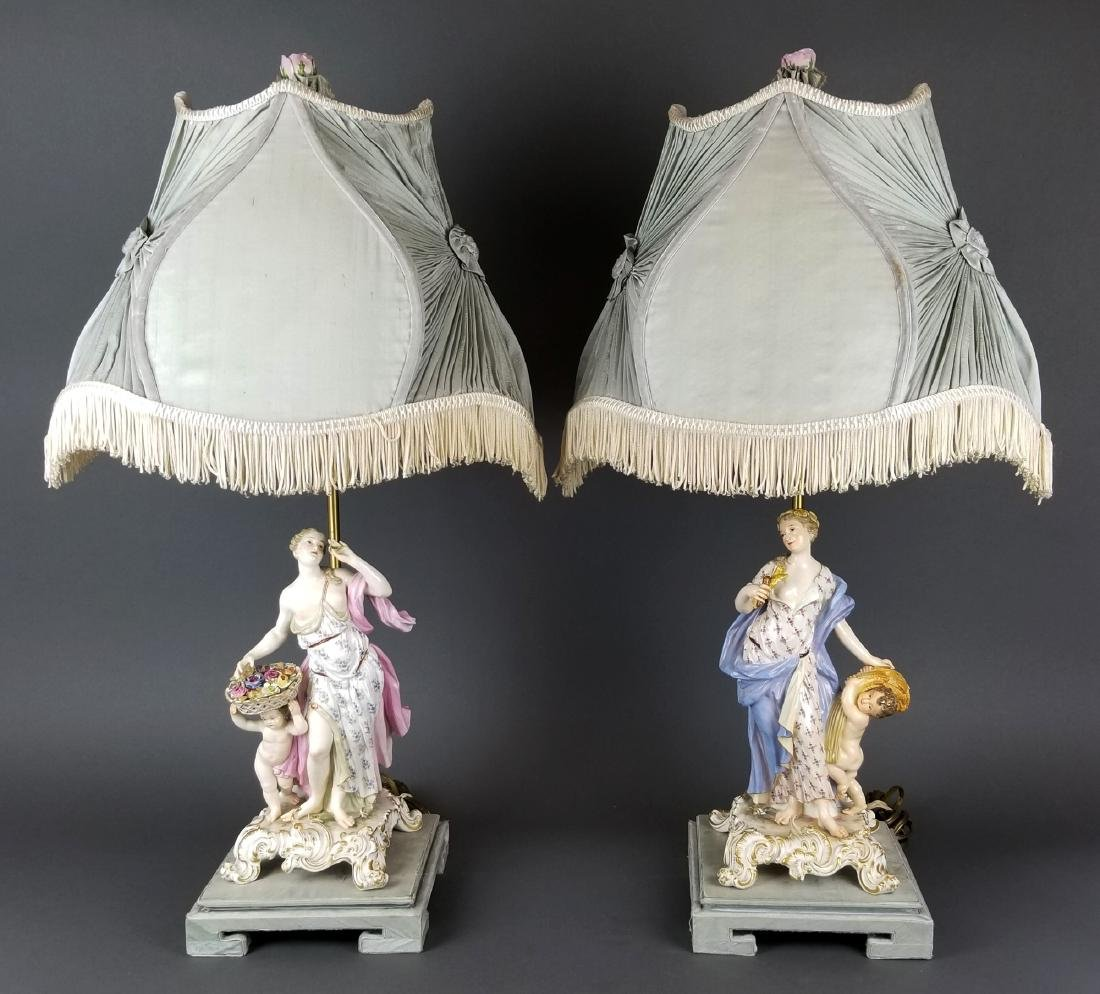 Pair of 19th C. Meissen Figural Lamps