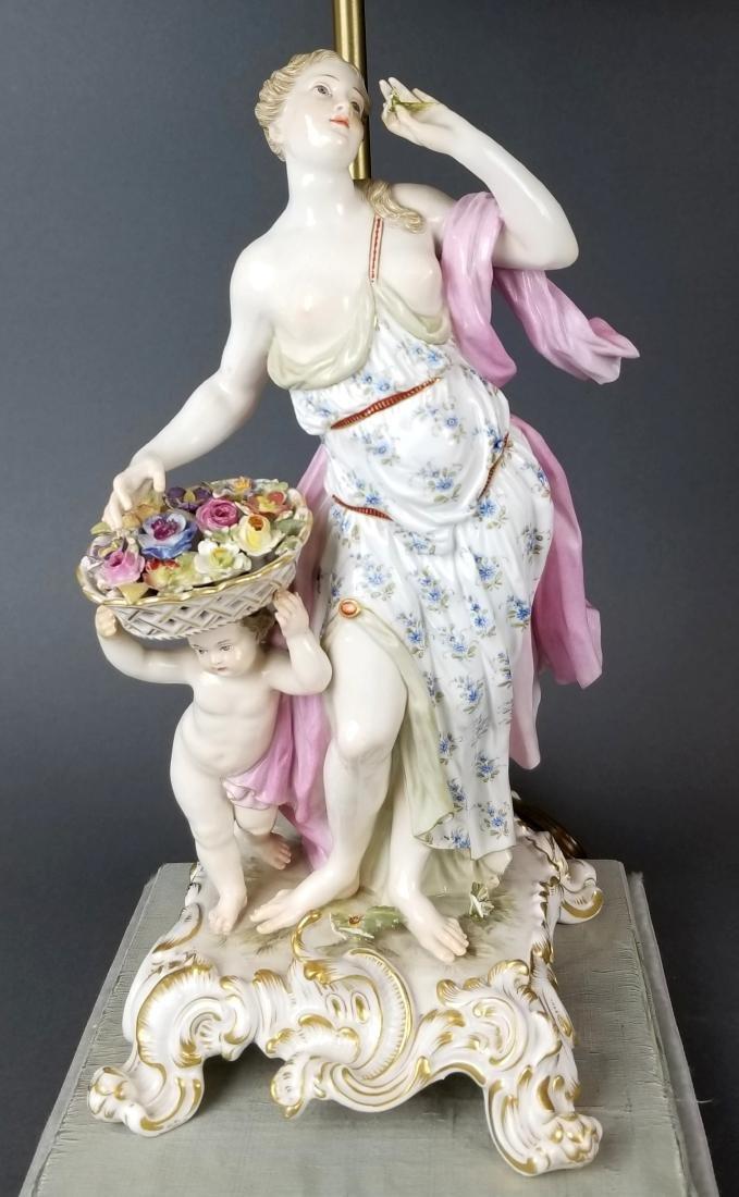Pair of 19th C. Meissen Figural Lamps - 2