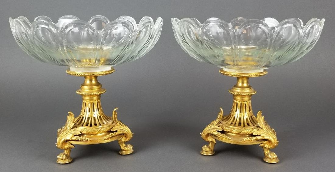 Pair of French Christofle Bronze & Crystal Tazzas