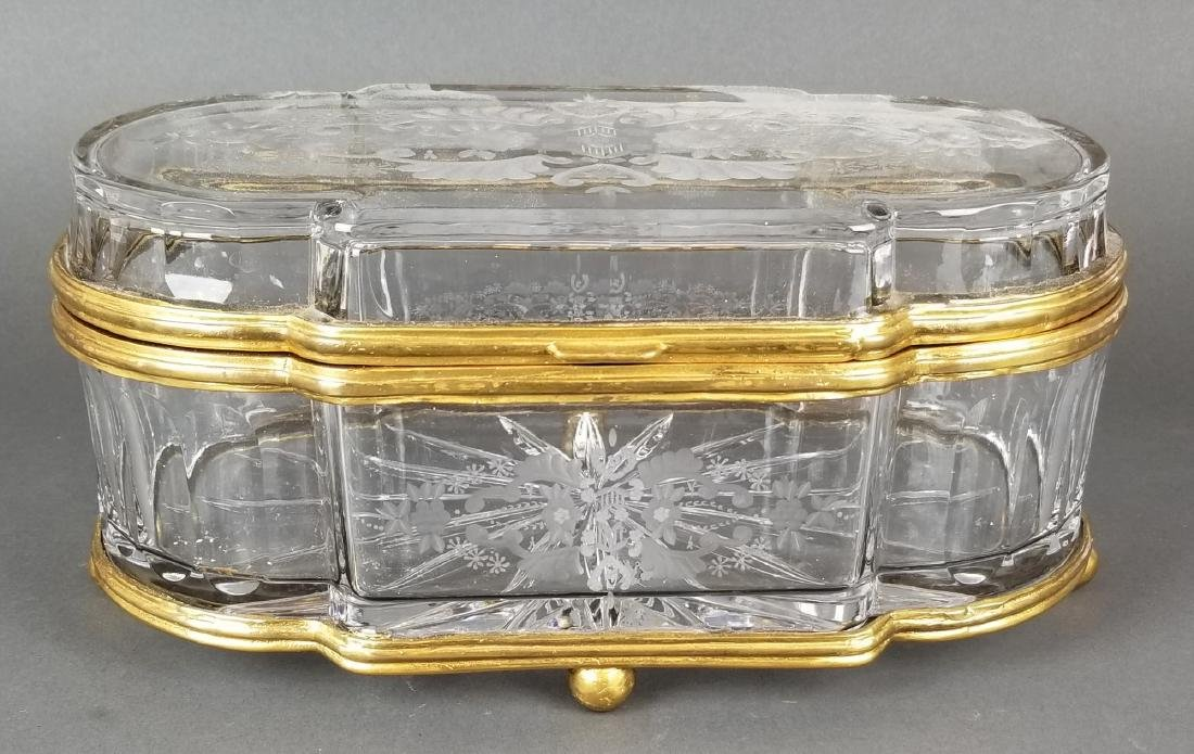 Huge French Bronze & Baccarat Crystal Jewelry Box