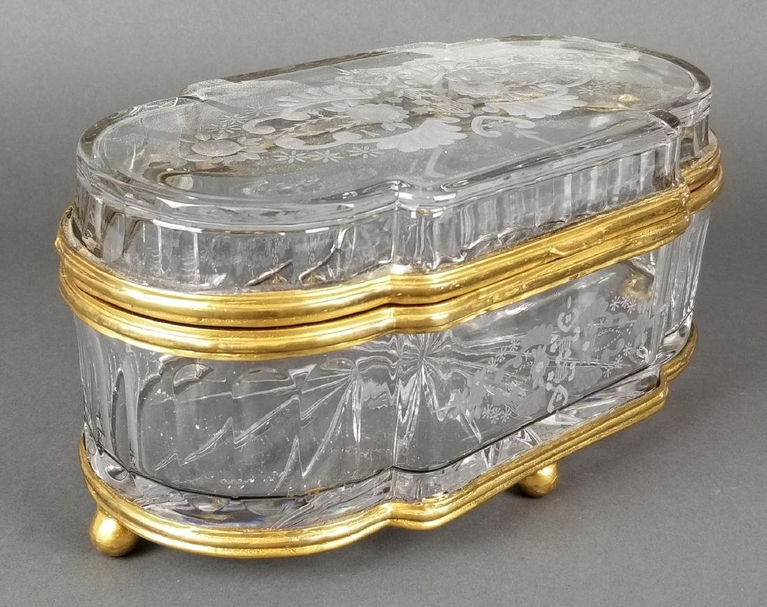 Huge French Bronze & Baccarat Crystal Jewelry Box - 2