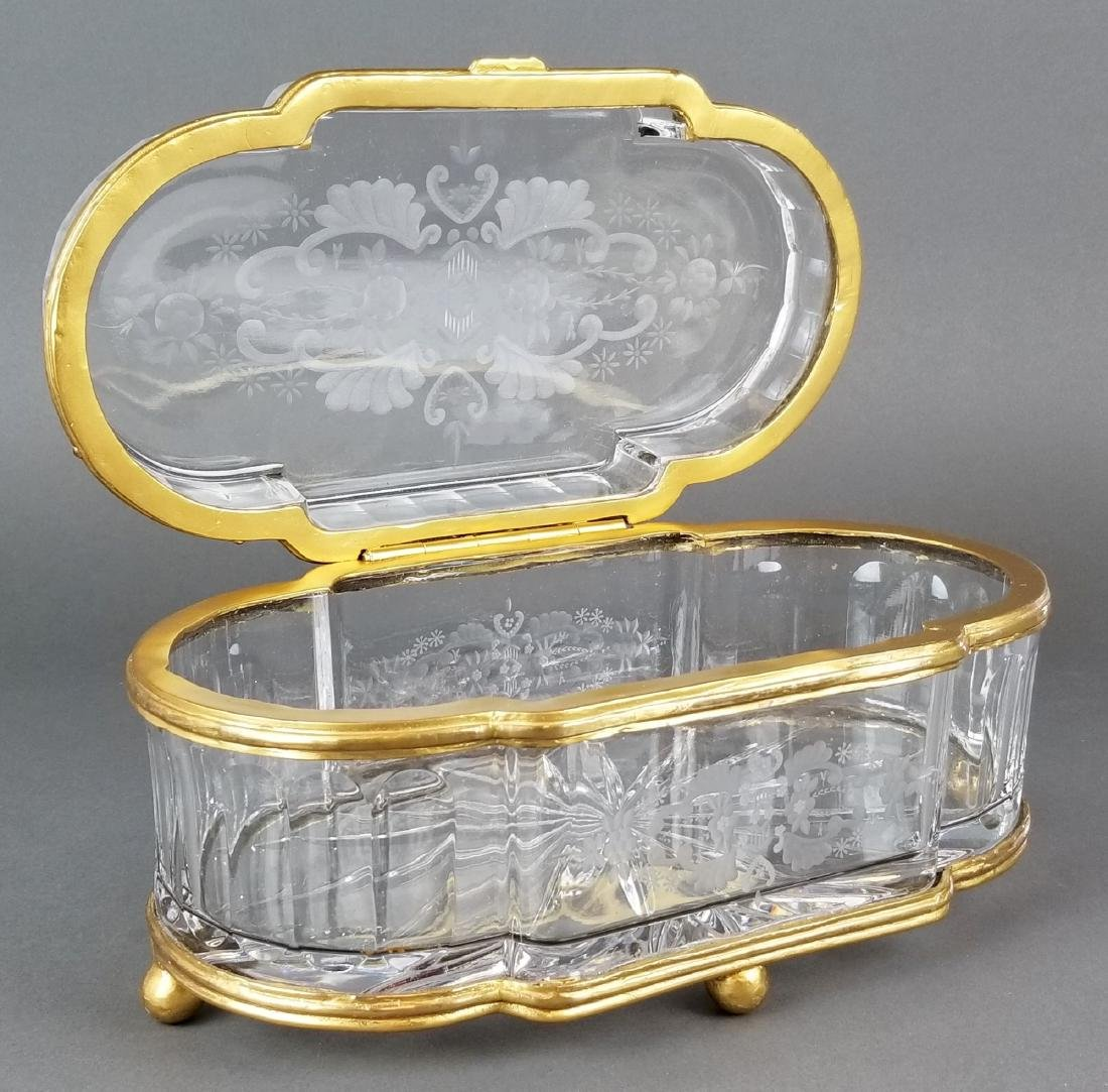 Huge French Bronze & Baccarat Crystal Jewelry Box - 4