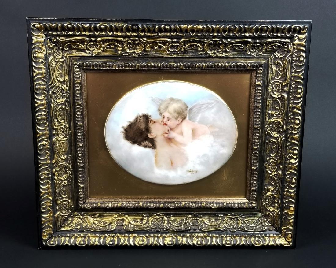 """19th C. KPM Porcelain """"Kiss"""" Plaque"""