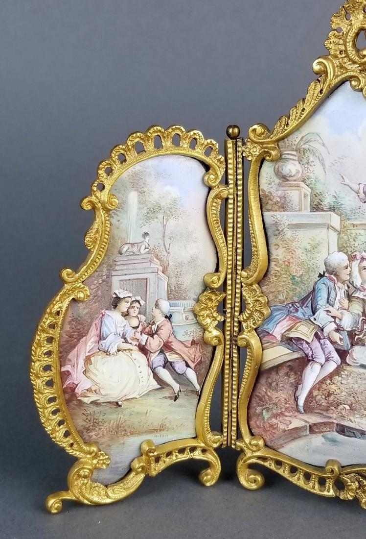 19th C. Austrian Viennese Enamel Folding Screen - 3
