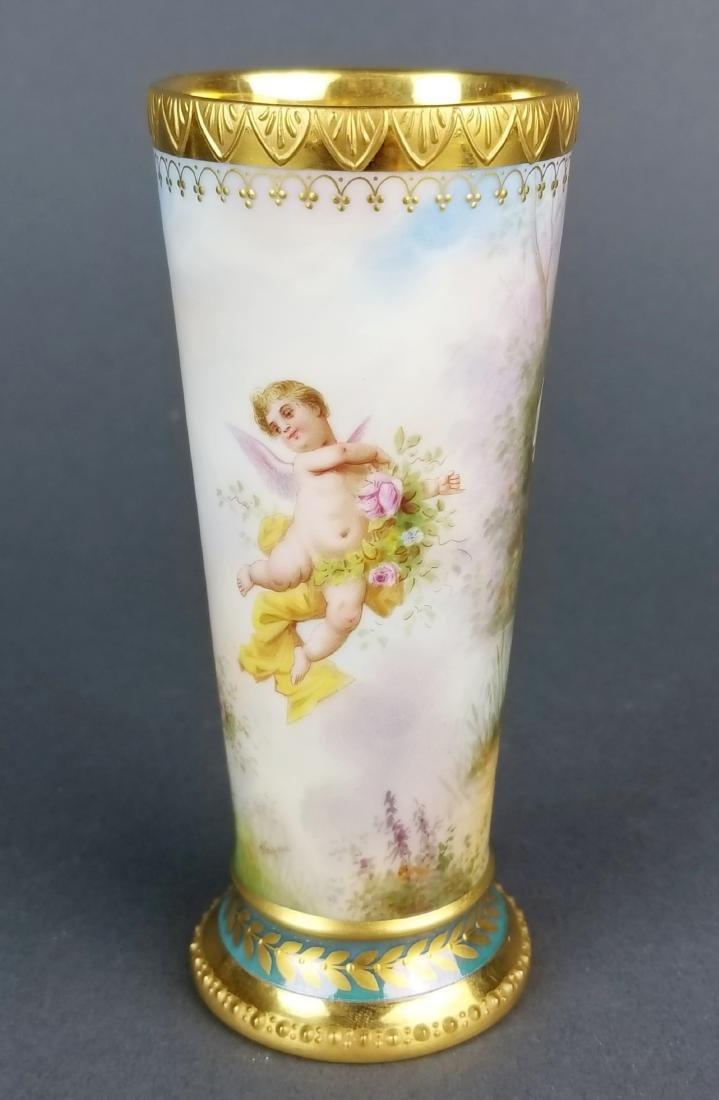 19th C. Royal Vienna Handpainted Vase - 4