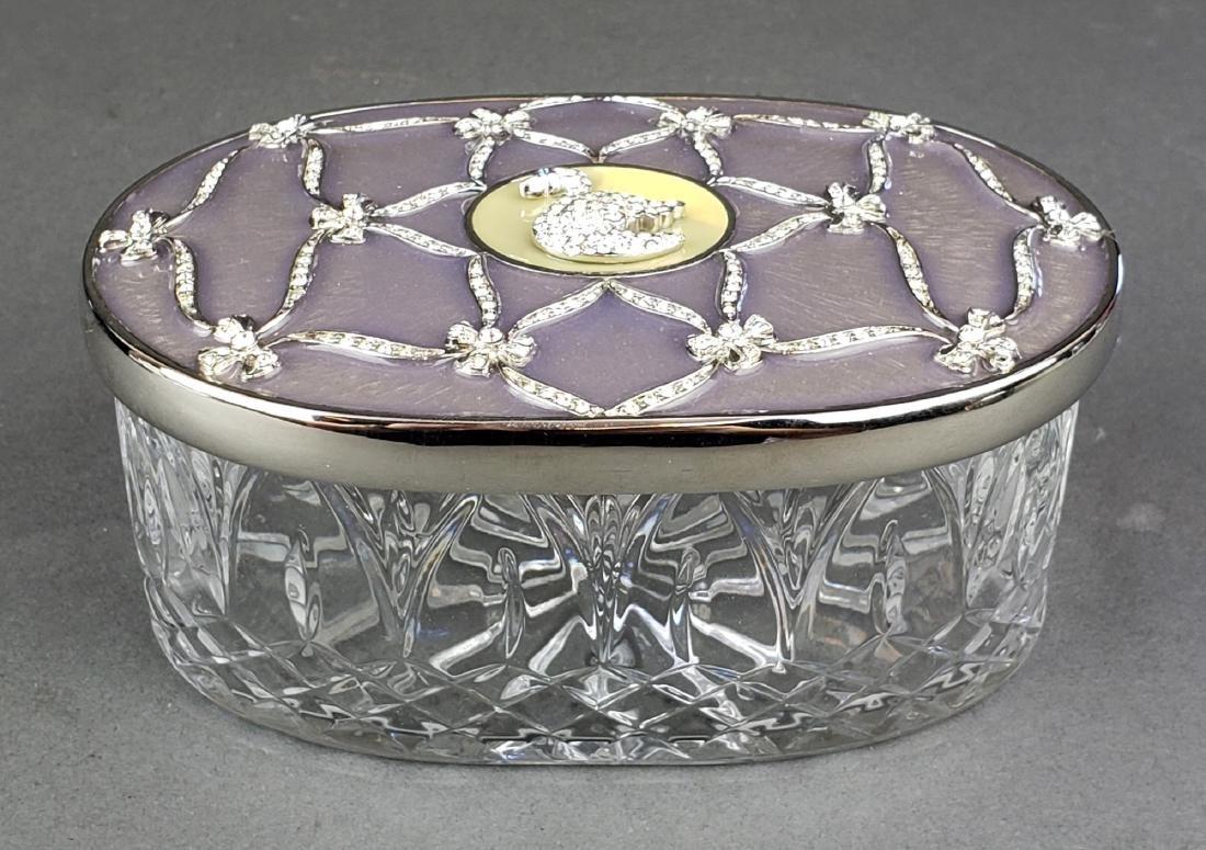 Faberge Enamel Silver & Crystal Jewelry Box - 2