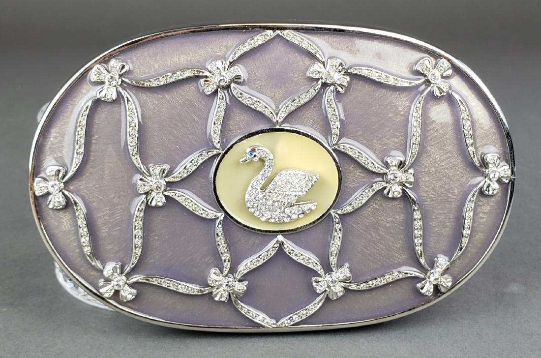Faberge Enamel Silver & Crystal Jewelry Box - 3