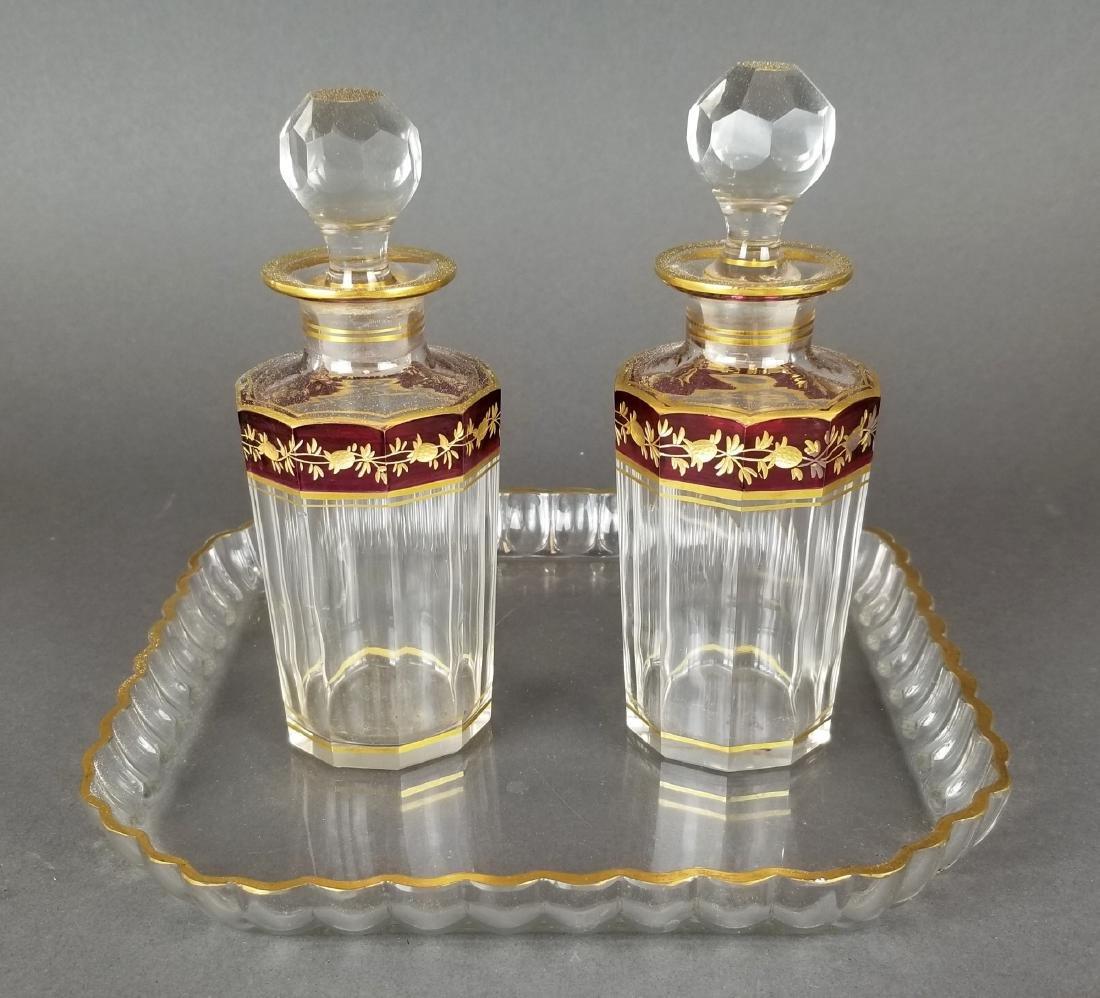 Moser/ Baccarat Set of 2 Bottles & Tray