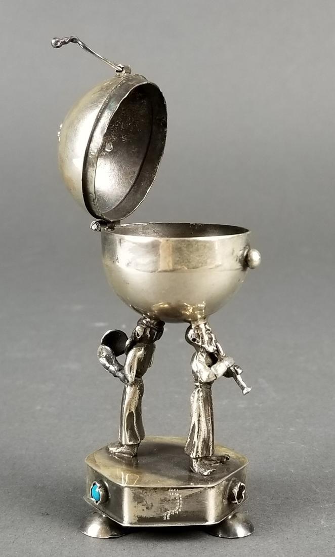 Russian Silver Jewlled Salt Cellar - 2