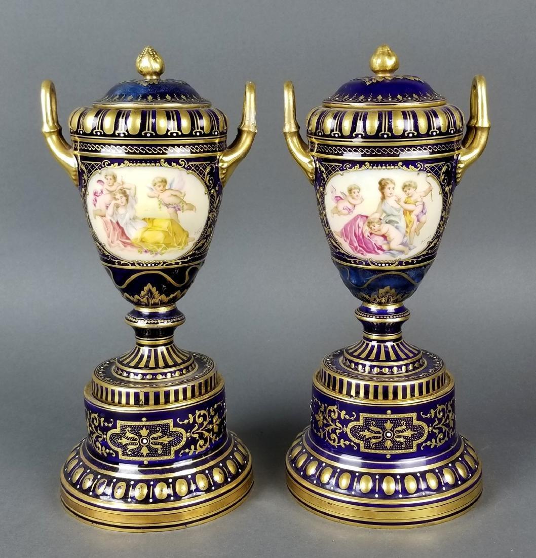 Pair of 19th C. Austrian Royal Vienna Vases