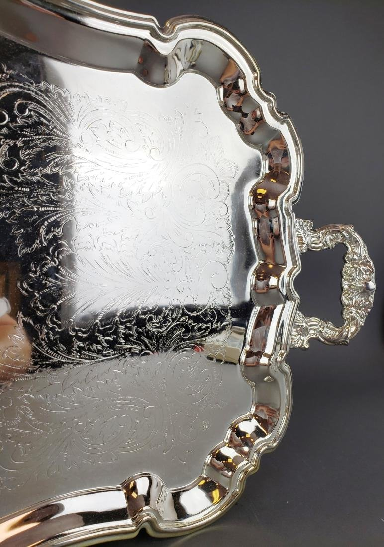 Large Silverplated Handled Platter - 2