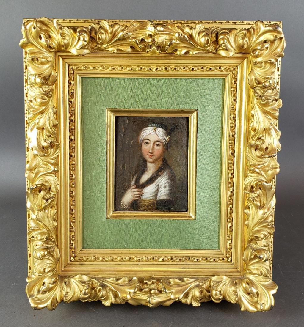 Framed Oil on Board of Woman
