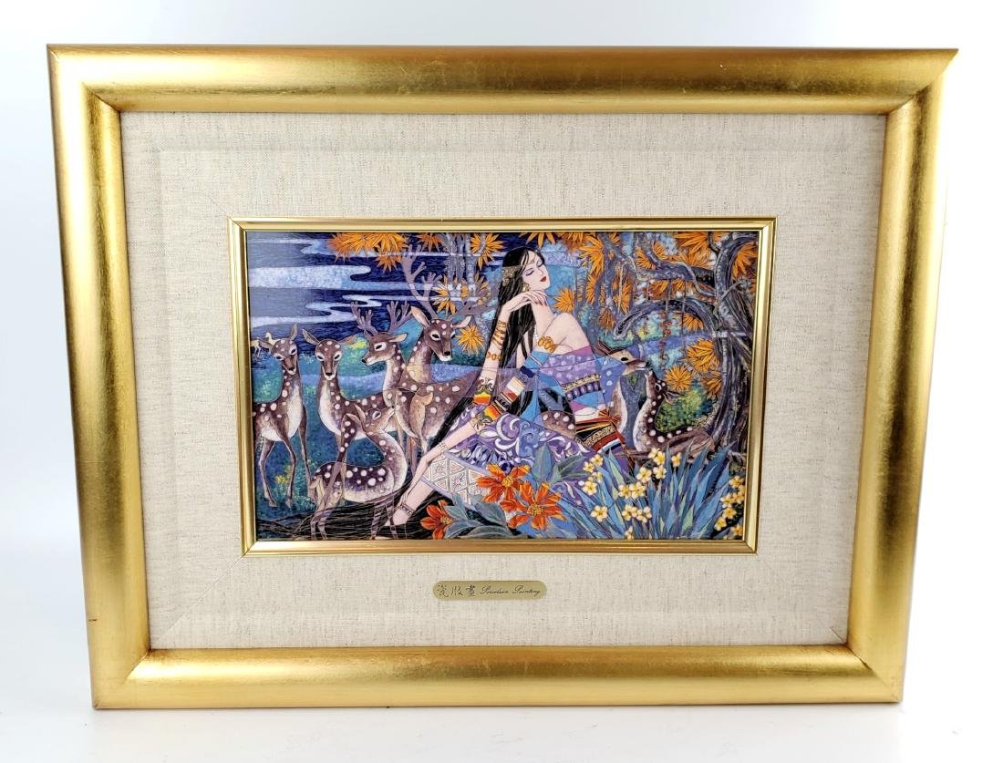 Framed Chinese Painting on Porcelain Plaque Signed