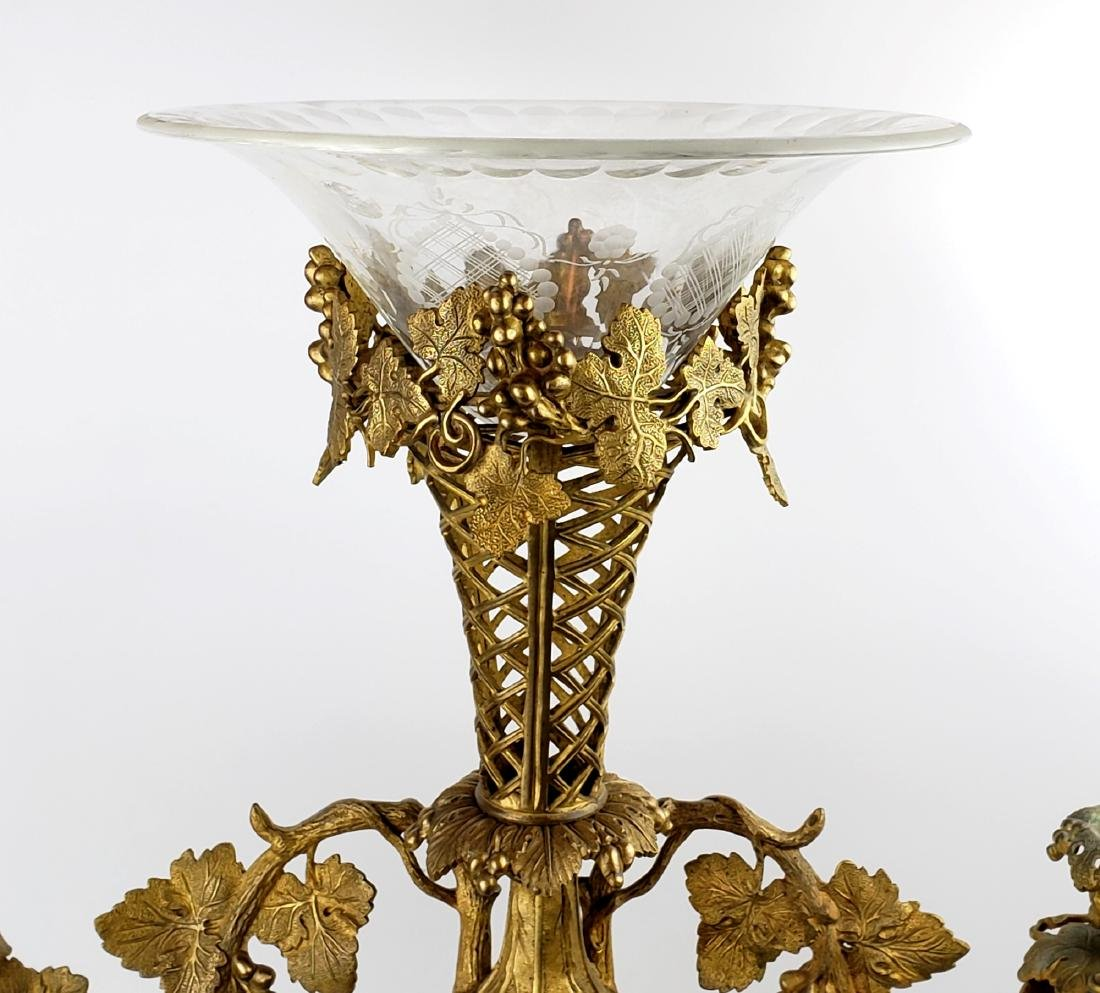 Large Bronze and Crystal Centerpiece - 2