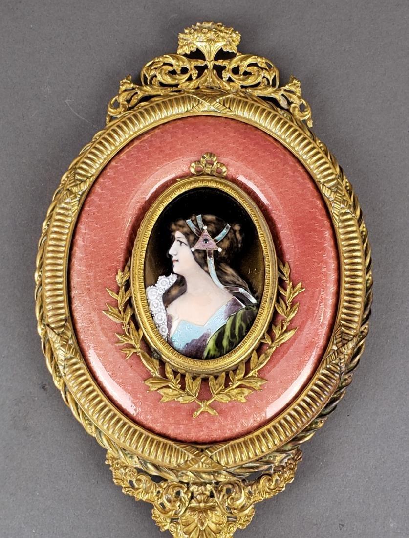 Large French Enamel & Bronze Hand Mirror - 2