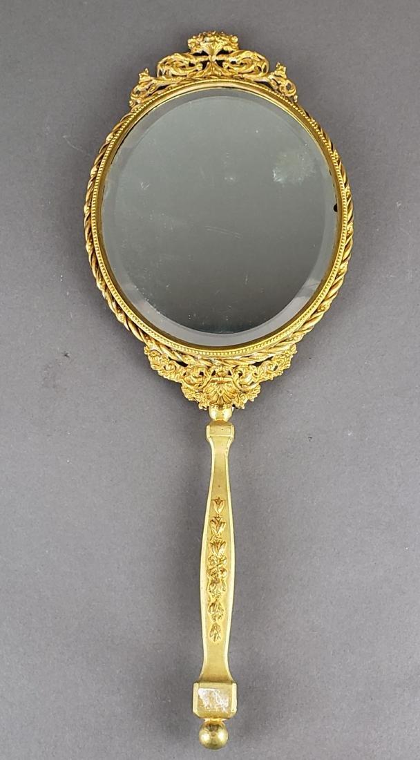 Large French Enamel & Bronze Hand Mirror - 4