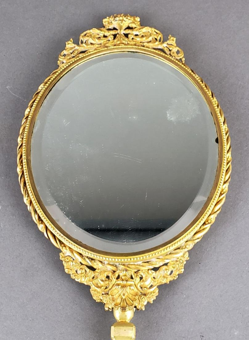Large French Enamel & Bronze Hand Mirror - 5