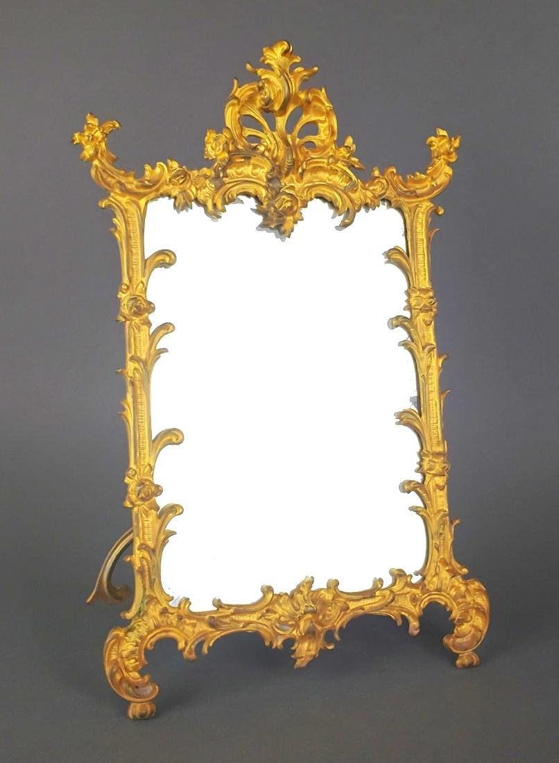 19th C. French Gilt Bronze Mirror