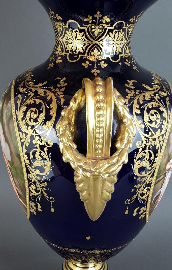 Large 19th C. Royal Vienna Porcelain Vase w/ Cover - 6