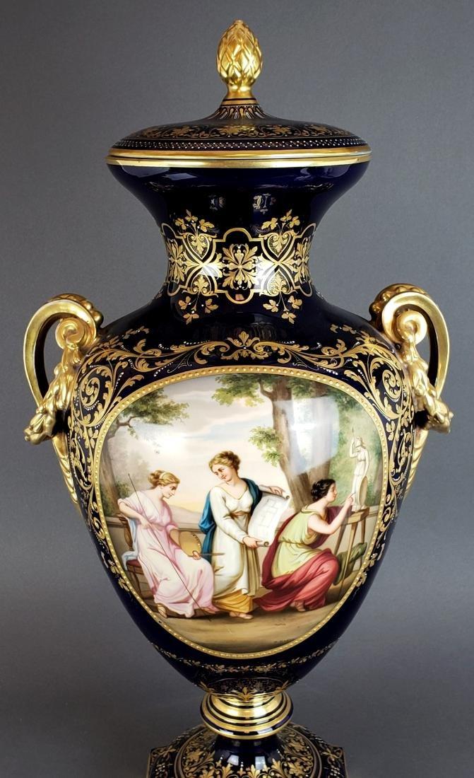 Large 19th C. Royal Vienna Porcelain Vase w/ Cover - 7