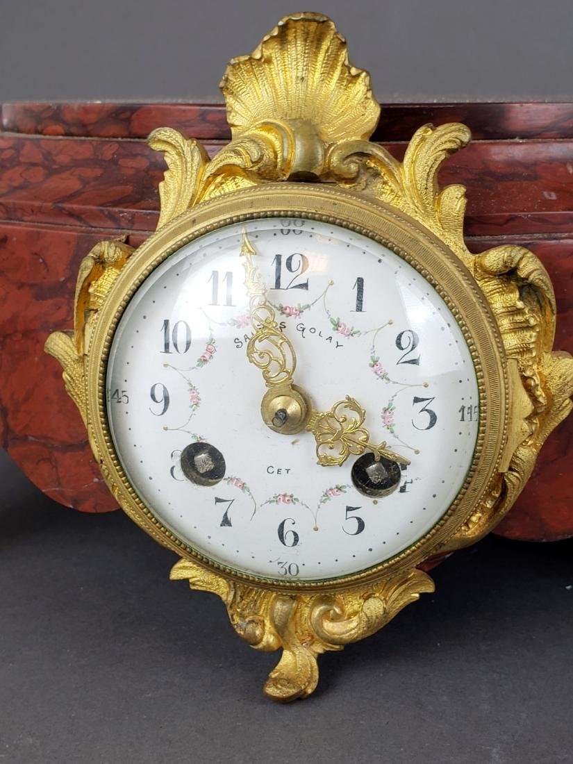 Pair of 19th C. Bronze & Rouge Marble Clock Pedestals - 2