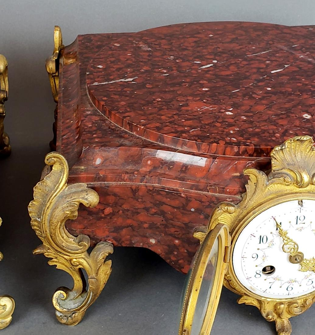 Pair of 19th C. Bronze & Rouge Marble Clock Pedestals - 5
