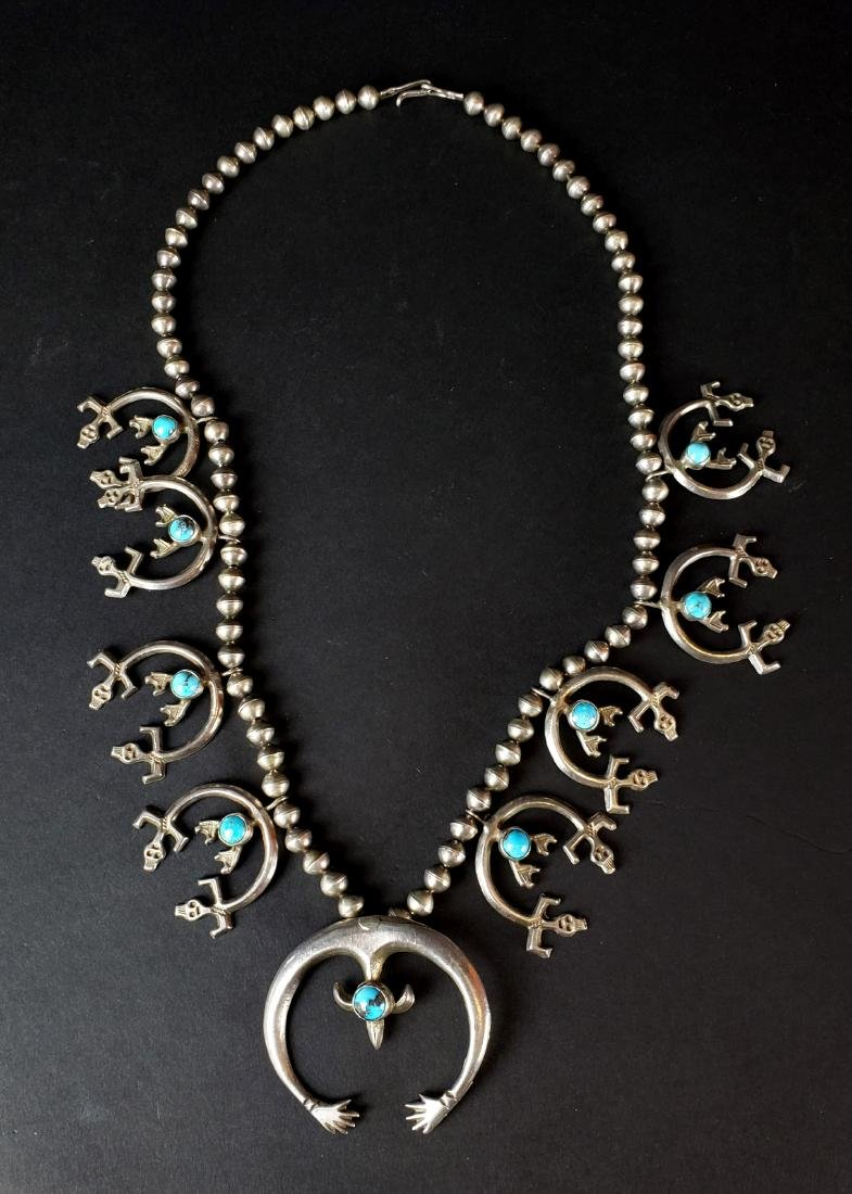 American Indian Silver & Turquoise Necklace