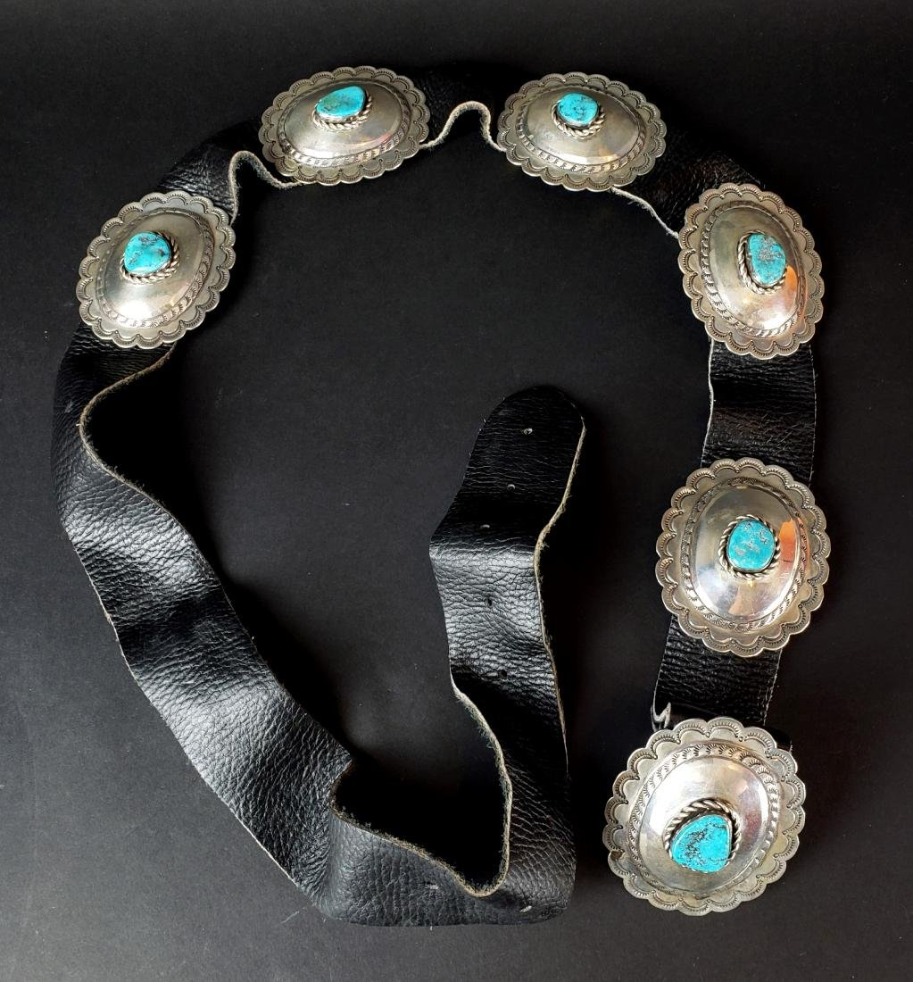 American Indian Silver & Turquoise Leather Belt