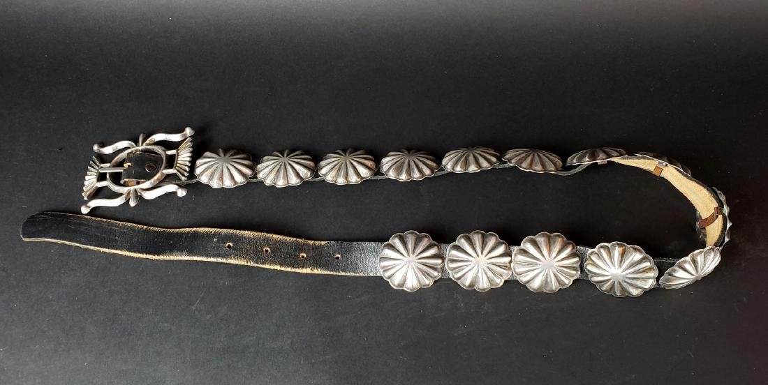 American Indian Silver & Leather Belt
