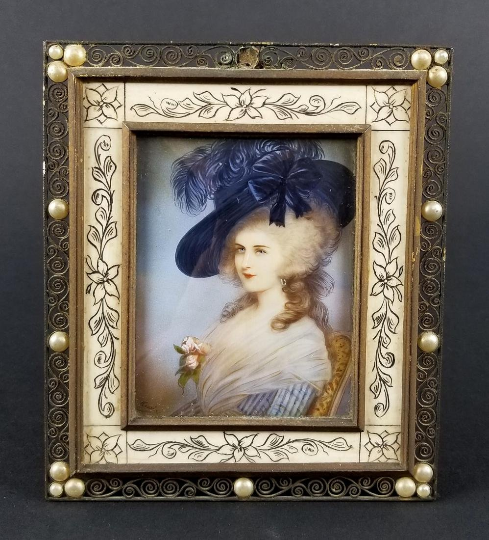 19th C. Hand Painted Framed Miniature Portrait of a