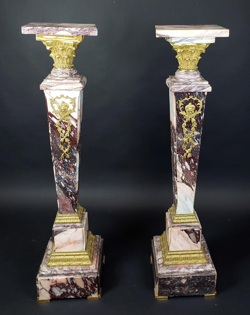 Pair of French Gilt Bronze Mounted Breche De Violette