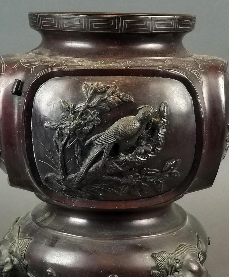 19th C. Japanese Meiji Period Bronze Vase - 3