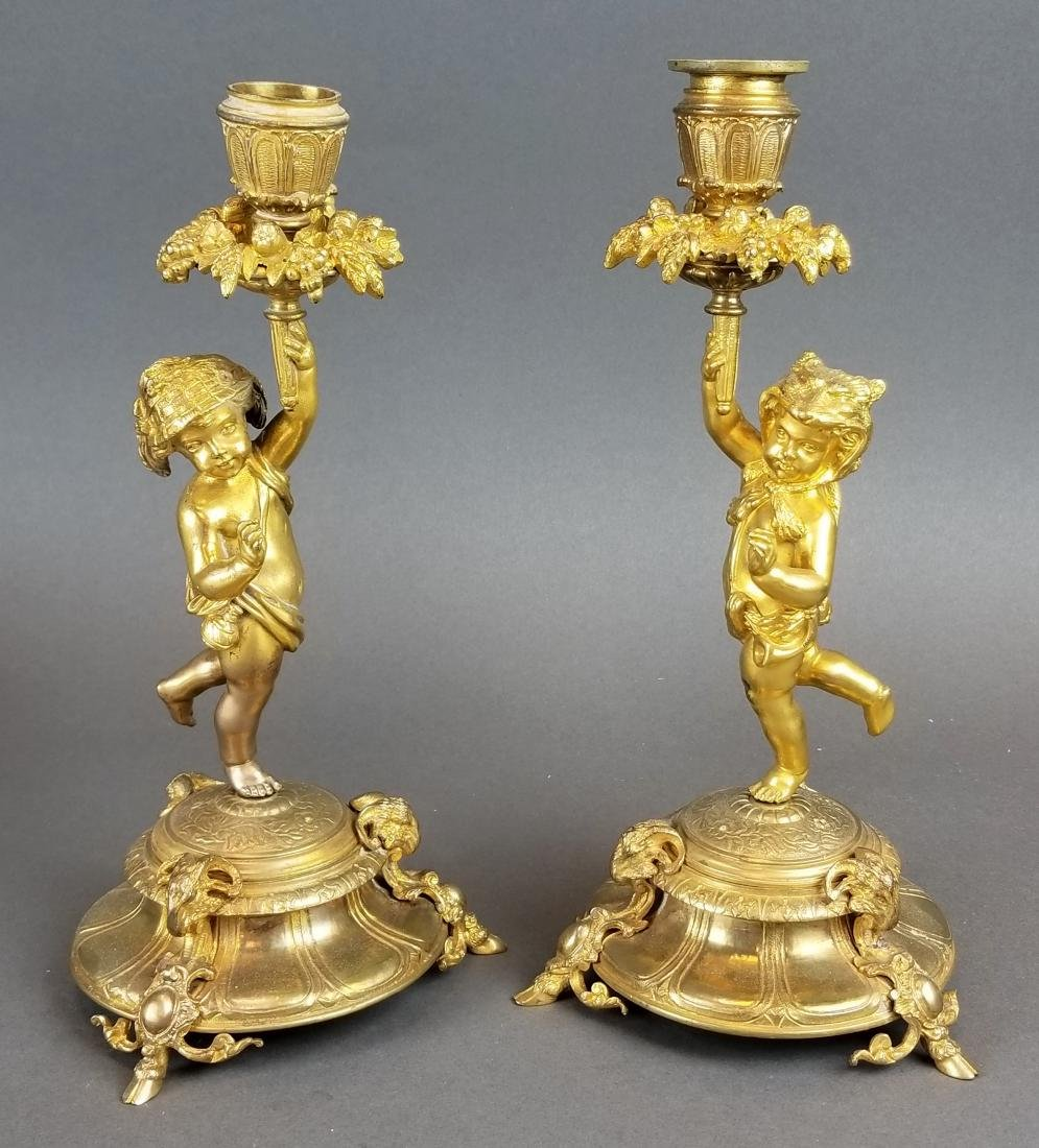 Pair of 19th C. French Bronze Figural Candlesticks