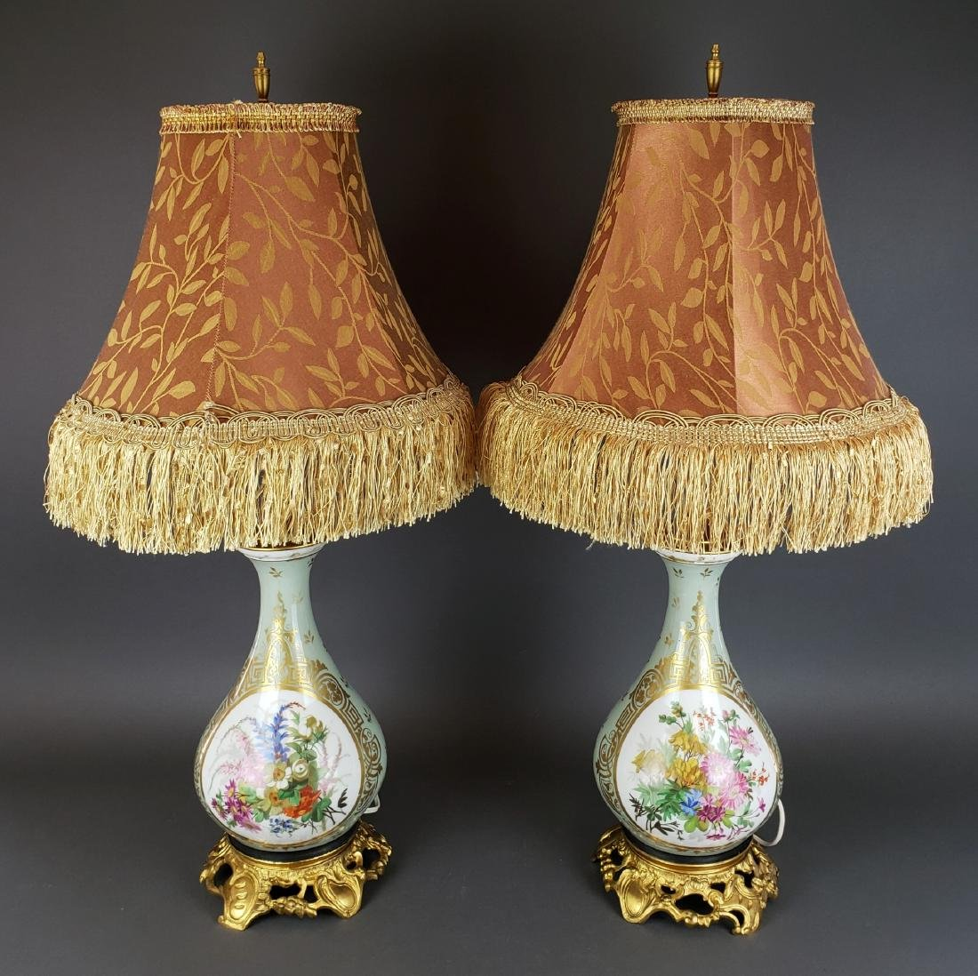 Pair of French Sevres Porcelain & Bronze Lamps, 19th C.