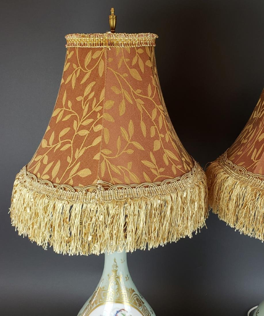 Pair of French Sevres Porcelain & Bronze Lamps, 19th C. - 2