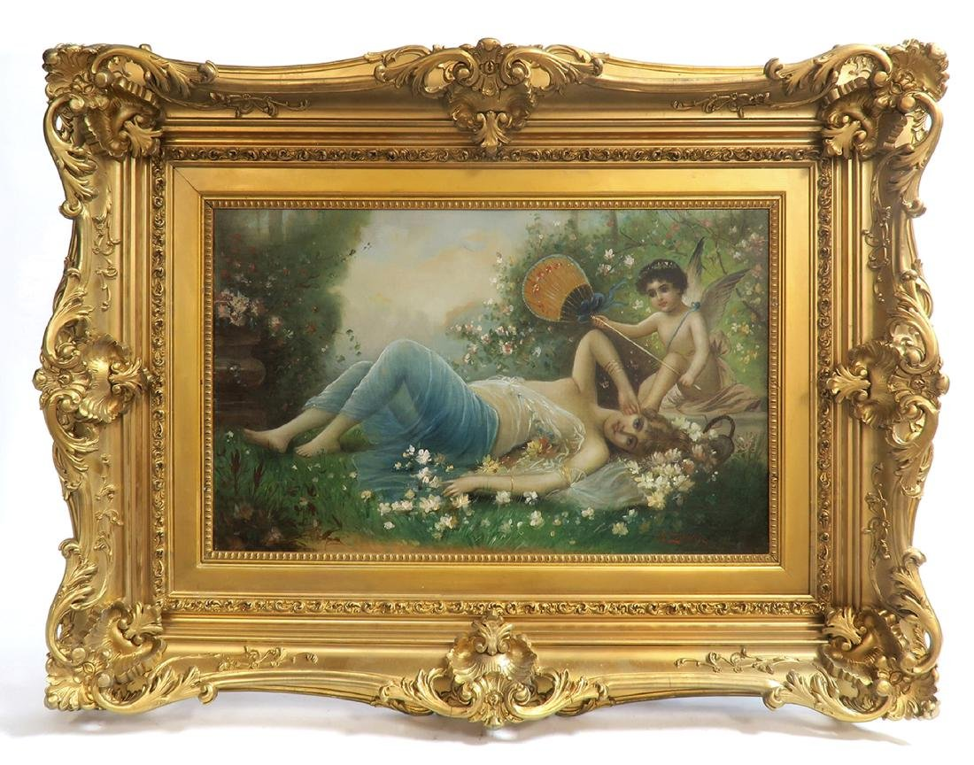 "19th C. Oil on Canvas Painting By ""Hans Zatzka"""