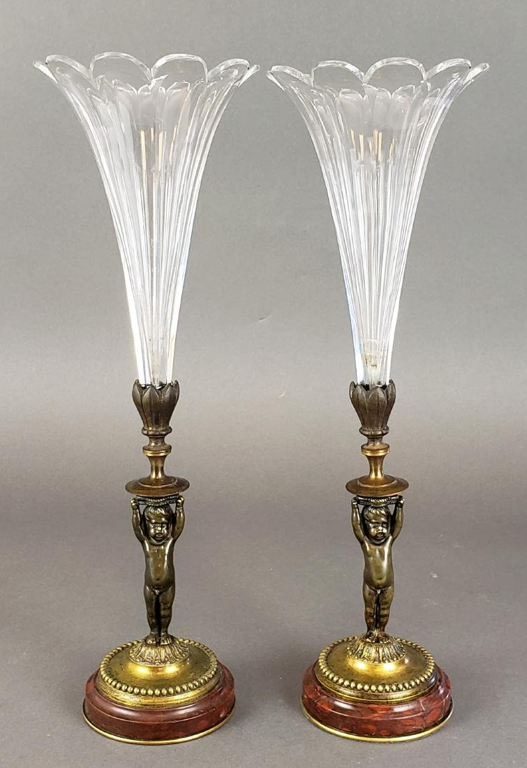 Pair of Bronze & Rouge Marble Baccarat Crystal Figural