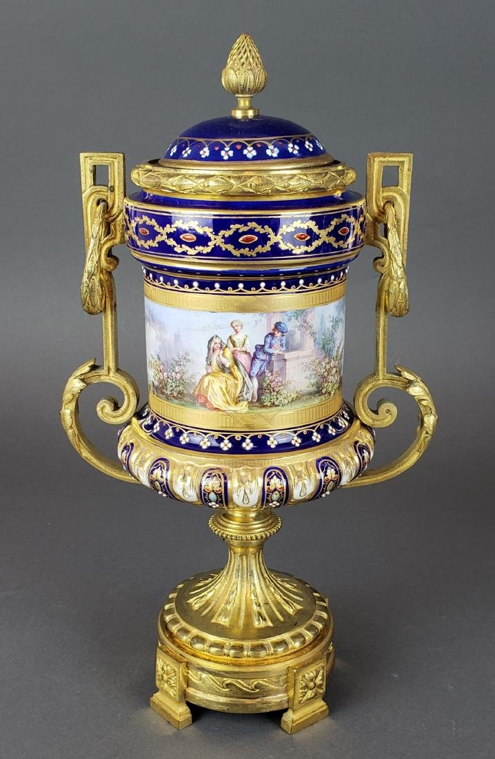 Pair of French Sevres Porcelain & Bronze Urns - 2