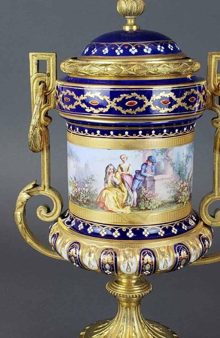 Pair of French Sevres Porcelain & Bronze Urns - 3