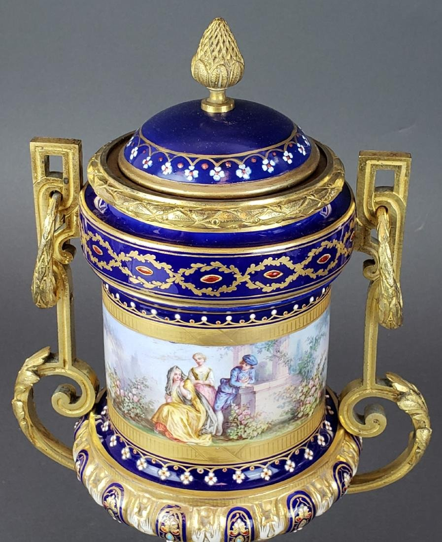 Pair of French Sevres Porcelain & Bronze Urns - 4