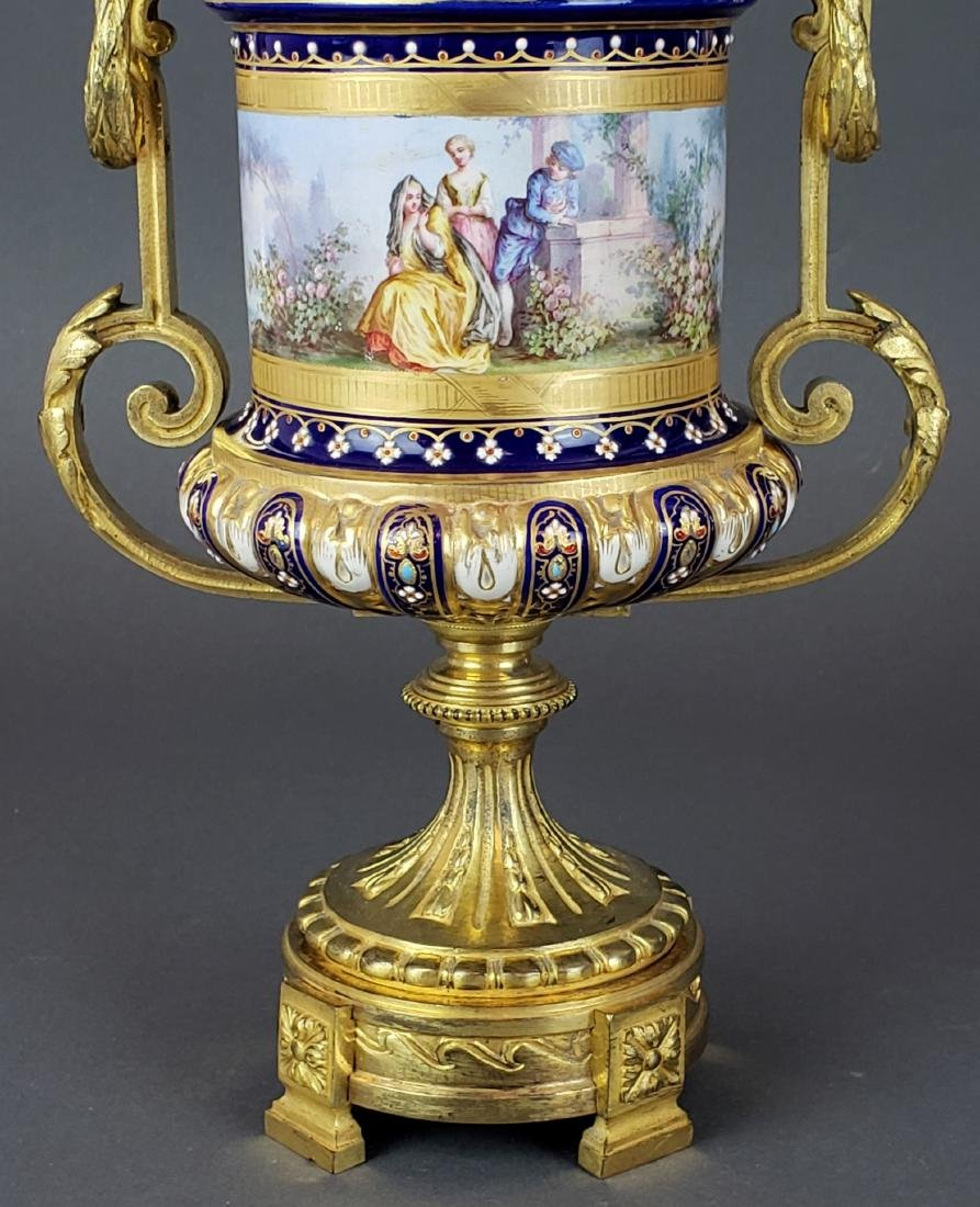 Pair of French Sevres Porcelain & Bronze Urns - 5