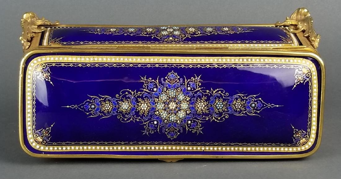 Large French Jewelled Enamel and Bronze Jewelry Box, - 4