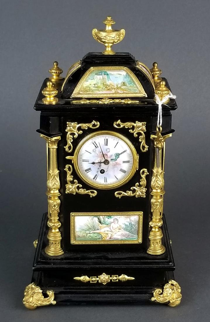 19th C. Large Austrian Viennese Enamel Clock - 3