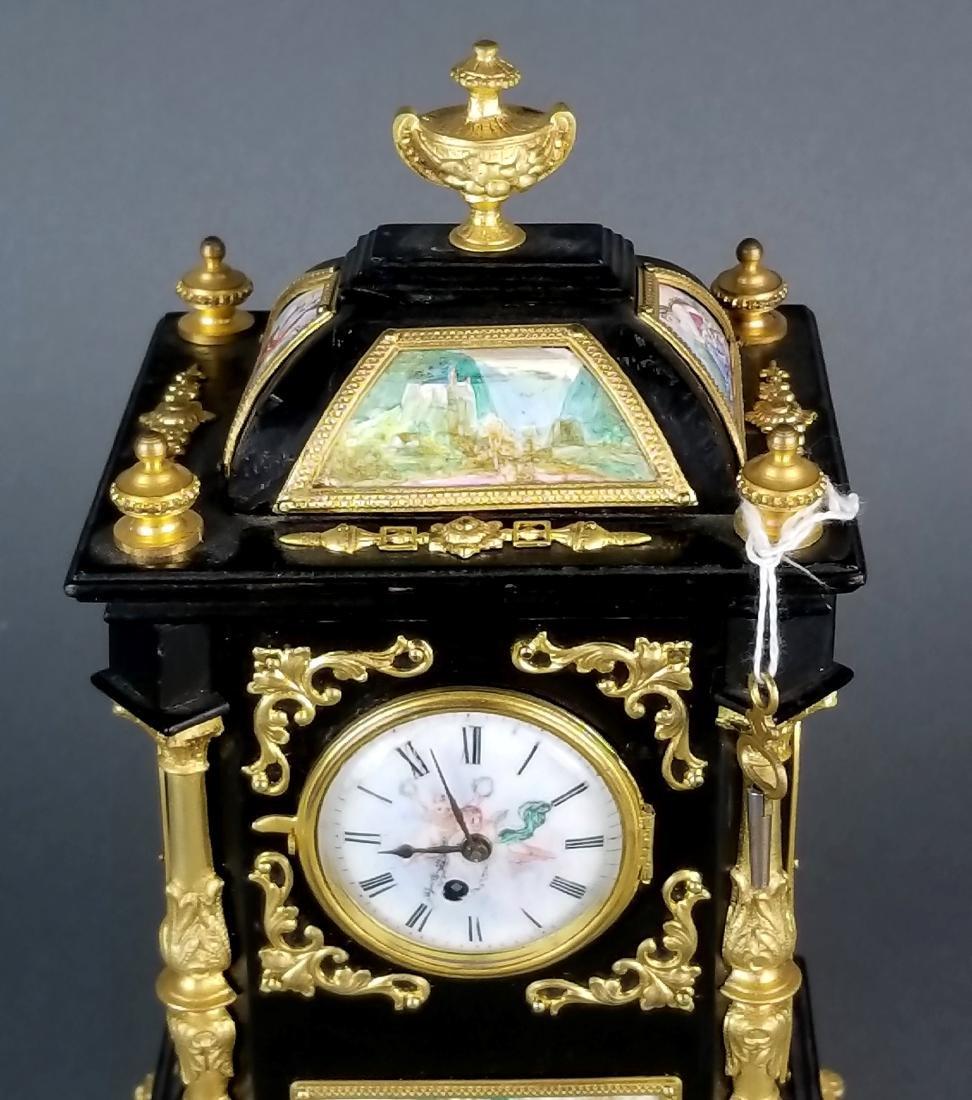 19th C. Large Austrian Viennese Enamel Clock - 4