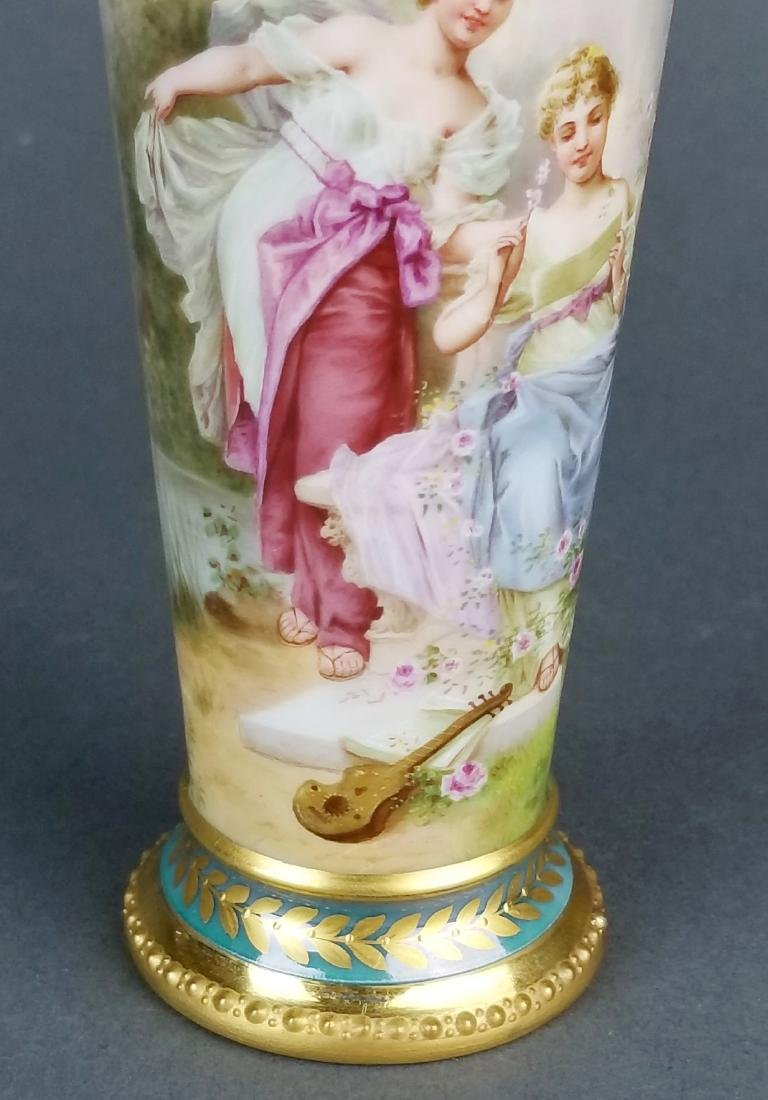 19th C. Royal Vienna Handpainted Vase - 3