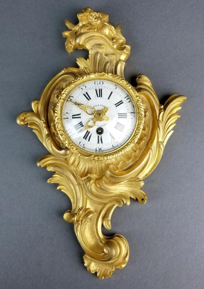 Small Fine French Gilt Bronze Cartel Clock